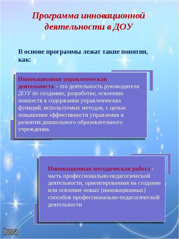 Инновационная управленческая деятельность - это деятельность руководителя ДОУ...