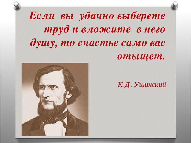 Если вы удачно выберете труд и вложите в него душу, то счастье само вас отыщ...
