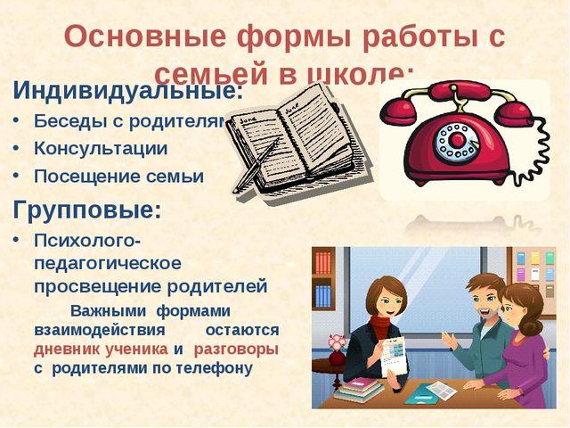 Основные формы работы с семьей в школе: Индивидуальные: Беседы с родителями К...