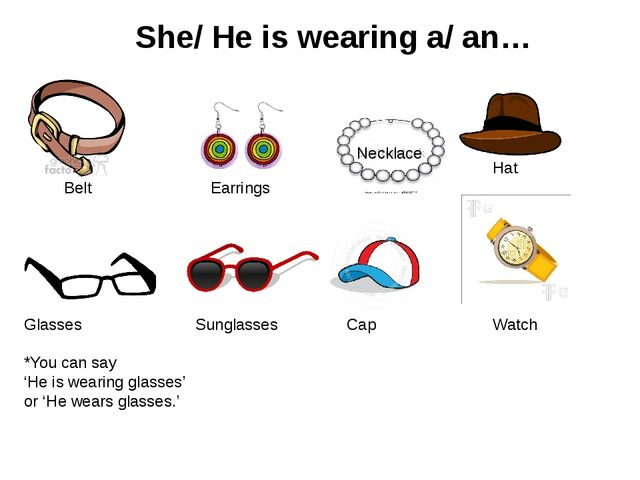 She/ He is wearing a/ an… Belt Earrings Necklace Glasses *You can say 'He is...