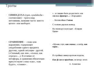 Тропы СИНЕКДОХА (греч. synekdoche - соотнесение) – троп и вид метонимии, назв