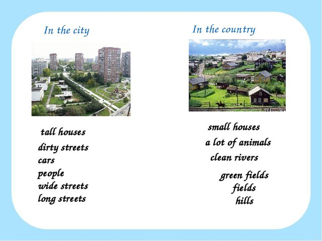 In the city In the country tall houses small houses a lot of animals clean ri...