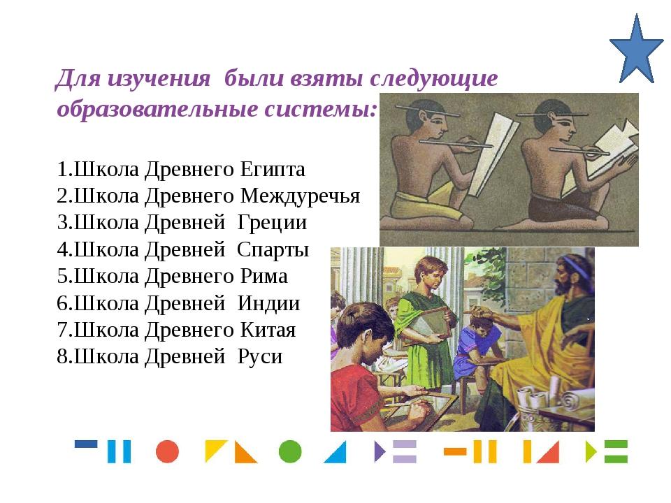 Для изучения были взяты следующие образовательные системы: Школа Древнего Еги...