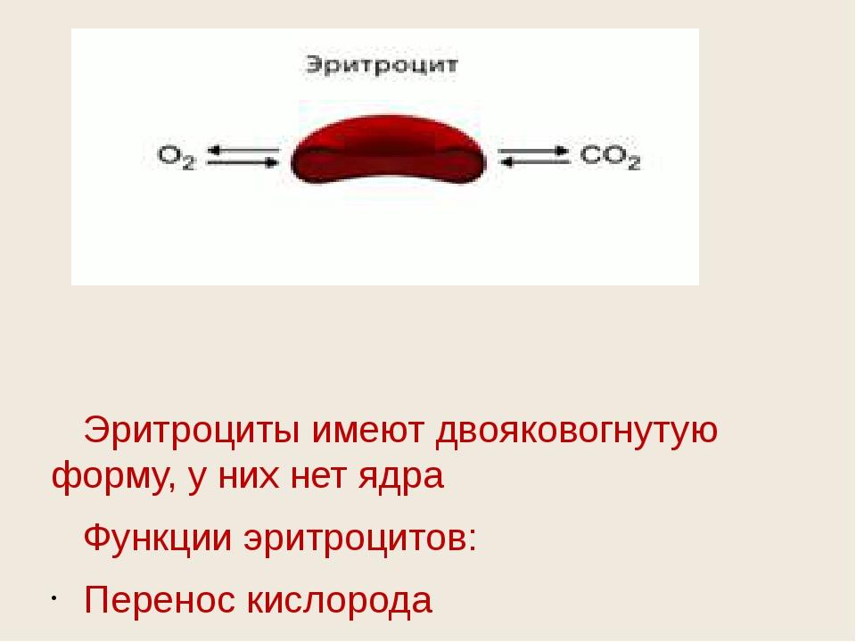 Эритроциты имеют двояковогнутую форму, у них нет ядра Функции эритроцитов: П...