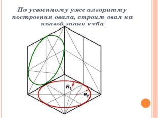 По усвоенному уже алгоритму построения овала, строим овал на правой грани куба