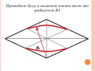 Проводим дугу в нижней части тем же радиусом R1