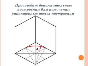 Производим дополнительные построения для получения характерных точек построения