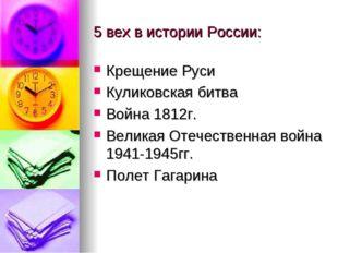 5 вех в истории России: Крещение Руси Куликовская битва Война 1812г. Великая