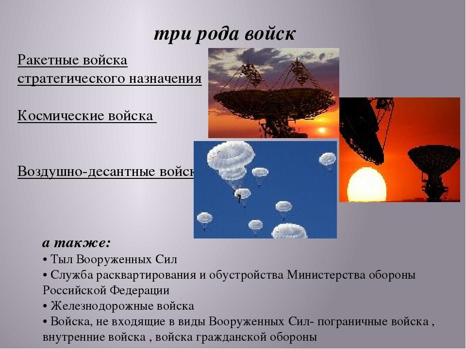 три рода войск Ракетные войска стратегического назначения Космические войска...