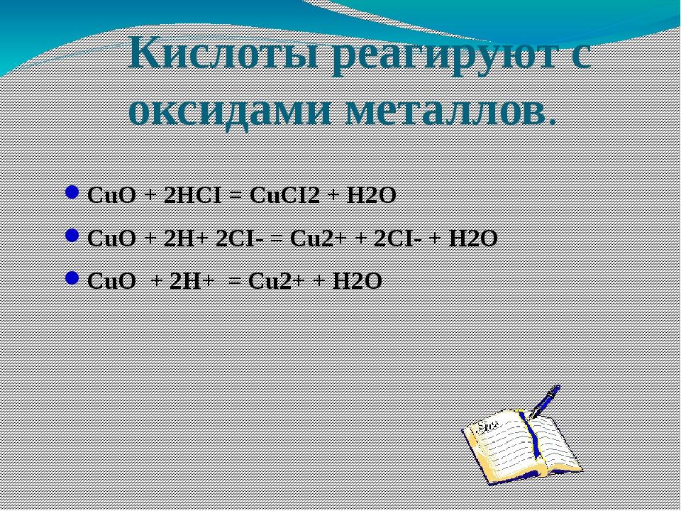 Кислоты реагируют с оксидами металлов. CuO + 2HCI = CuCI2 + H2O CuO + 2H+ 2CI...