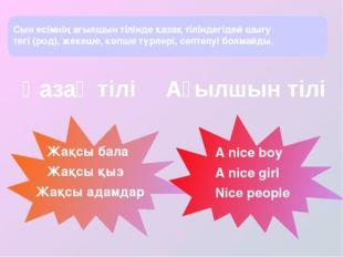 Жақсы бала Жақсы қыз Жақсы адамдар A nice boy A nice girl Nice people Сын ес