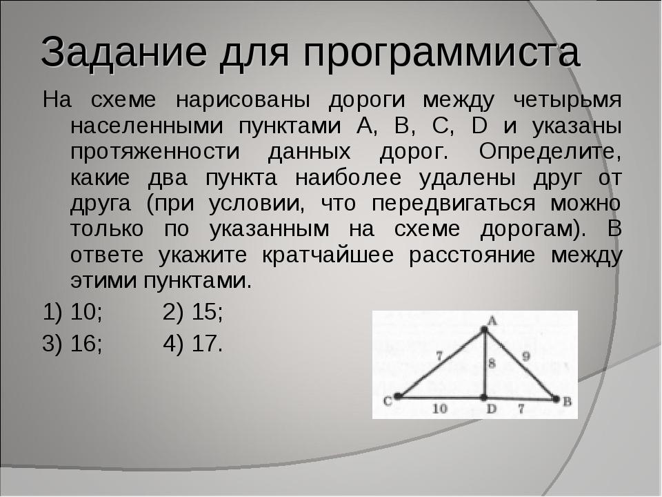 Задание для программиста На схеме нарисованы дороги между четырьмя населенным...