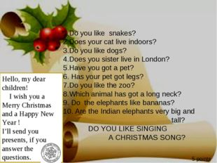 1.Do you like snakes? 2.Does your cat live indoors? 3.Do you like dogs? 4.Doe