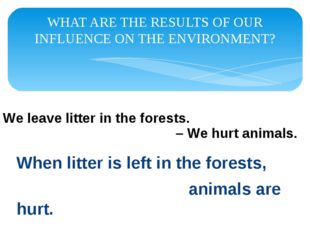 WHAT ARE THE RESULTS OF OUR INFLUENCE ON THE ENVIRONMENT? When litter is left