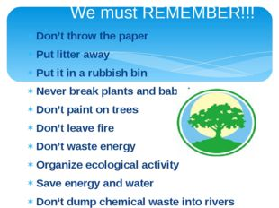We must REMEMBER!!! Don't throw the paper Put litter away Put it in a rubbish