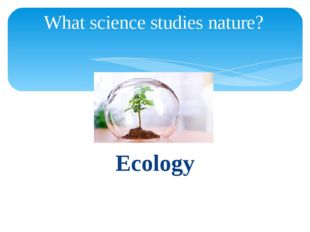 Ecology What science studies nature?