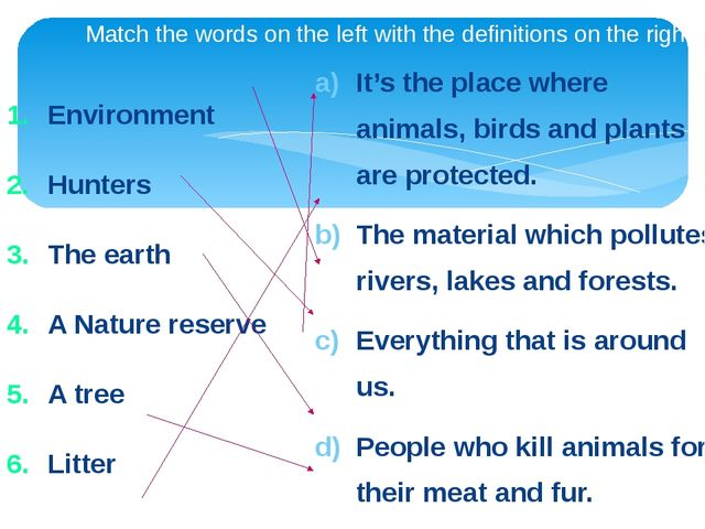 Match the words on the left with the definitions on the right. Environment H...