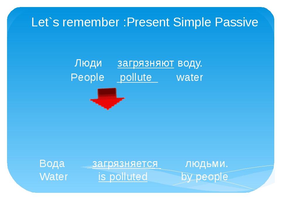 Let`s remember :Present Simple Passive Люди загрязняют воду. People pollute w...