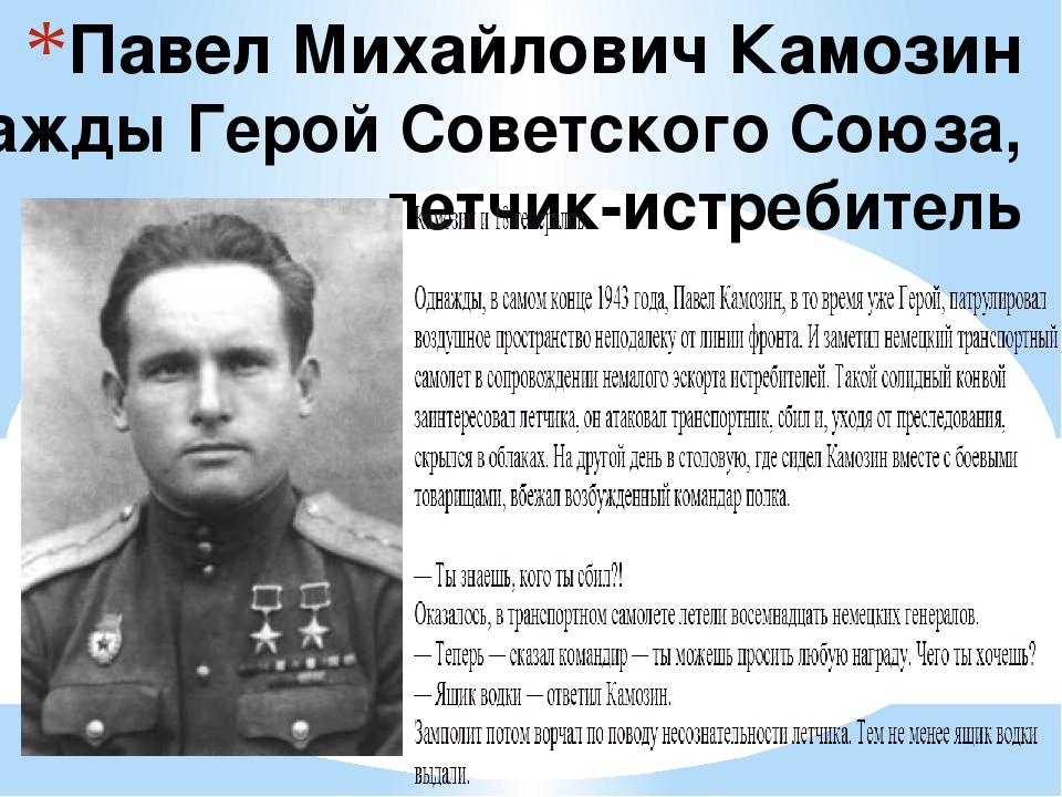 Павел Михайлович Камозин дважды Герой Советского Союза, летчик-истребитель