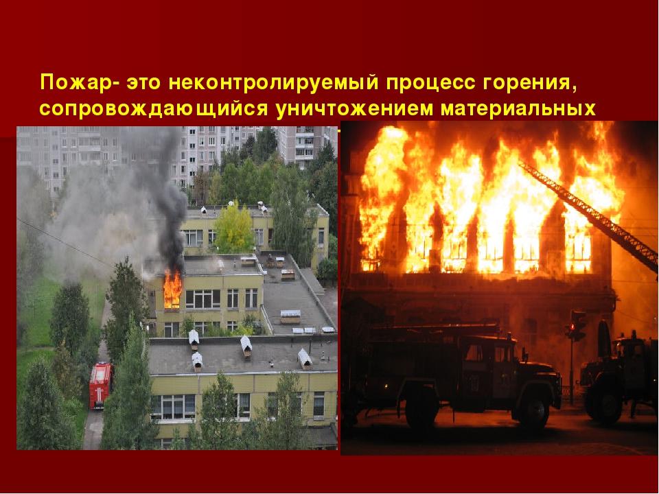 Пожар- это неконтролируемый процесс горения, сопровождающийся уничтожением м...