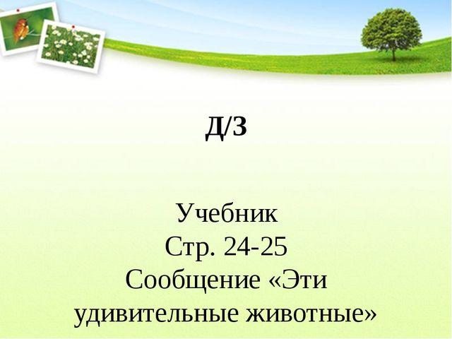 Д/З Учебник Стр. 24-25 Сообщение «Эти удивительные животные»