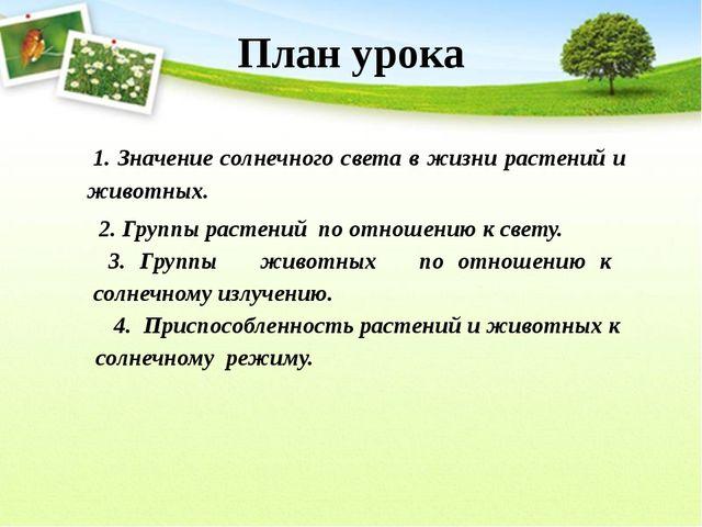 1. Значение солнечного света в жизни растений и животных. 2. Группы растений...