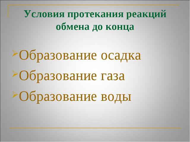 Условия протекания реакций обмена до конца Образование осадка Образование газ...