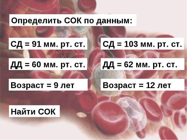 Определить СОК по данным: СД = 91 мм. рт. ст. ДД = 60 мм. рт. ст. Возраст = 9...
