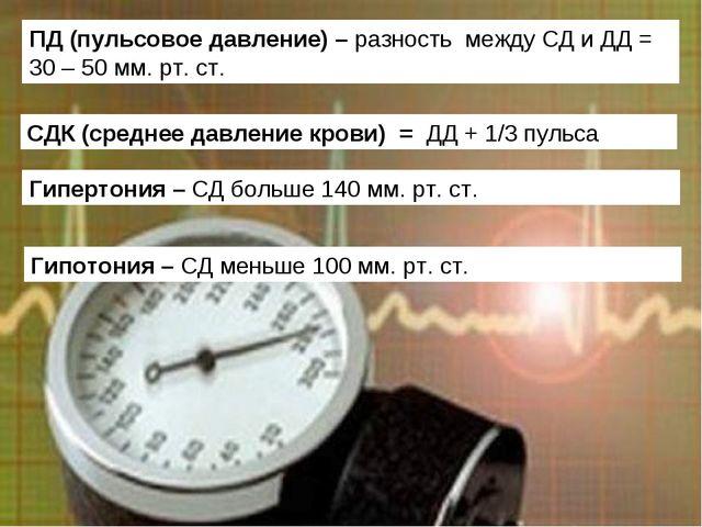 Гипертония – СД больше 140 мм. рт. ст. Гипотония – СД меньше 100 мм. рт. ст....