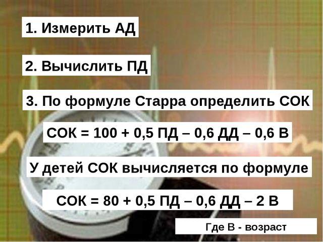 1. Измерить АД 2. Вычислить ПД 3. По формуле Старра определить СОК СОК = 100...