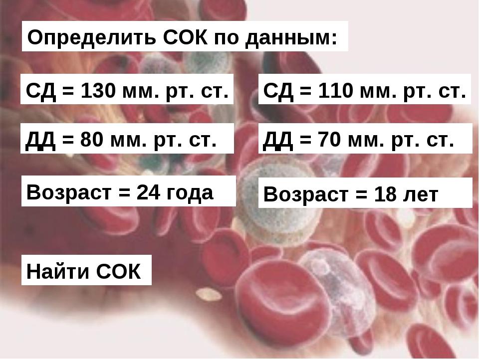 Определить СОК по данным: СД = 130 мм. рт. ст. ДД = 80 мм. рт. ст. Возраст =...