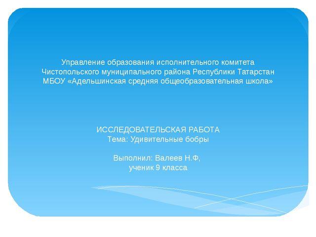 Управление образования исполнительного комитета Чистопольского муниципального...