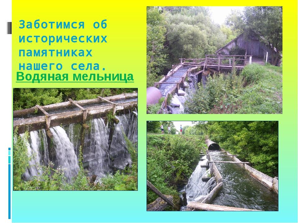 Заботимся об исторических памятниках нашего села. Водяная мельница