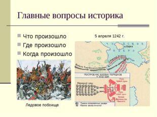 Главные вопросы историка Что произошло Где произошло Когда произошло 5 апреля