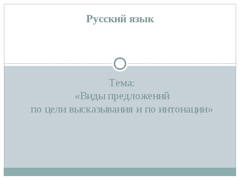 Тема: «Виды предложений по цели высказывания и по интонации» Русский язык