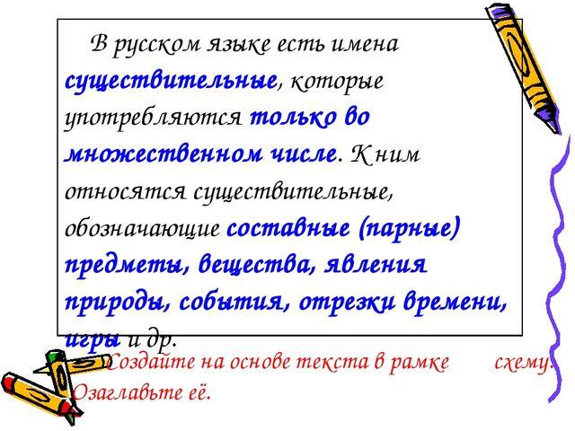Создайте на основе текста в рамке схему. Озаглавьте её. В русском языке есть...