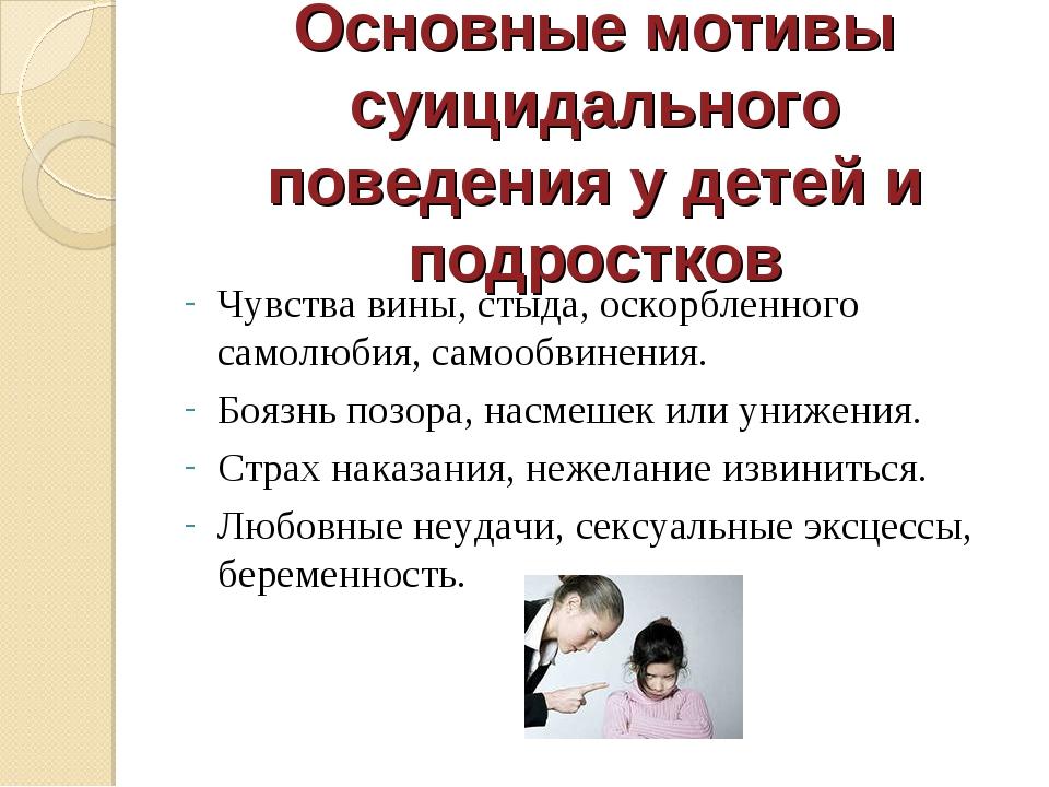 Основные мотивы суицидального поведения у детей и подростков Чувства вины, ст...
