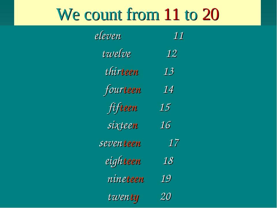 We count from 11 to 20 eleven 11 twelve 12 thirteen 13 fourteen 14 fifteen 15...