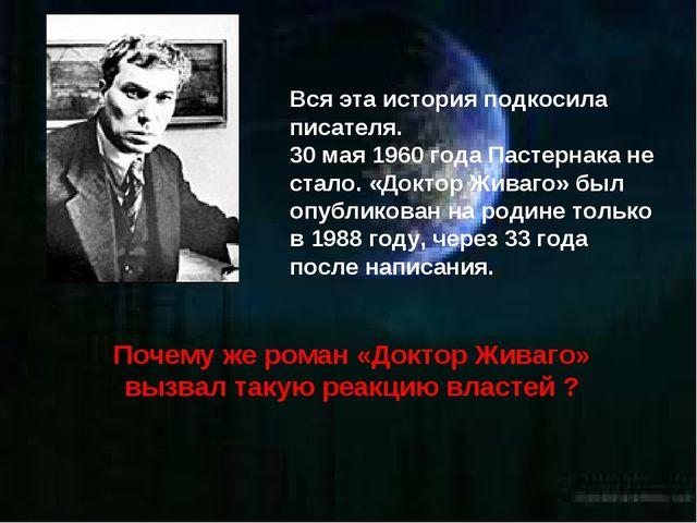 Вся эта история подкосила писателя. 30 мая 1960 года Пастернака не стало. «До...