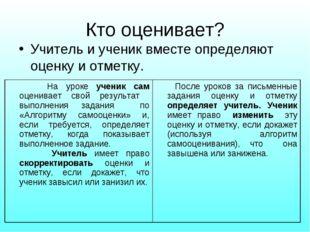 Кто оценивает? Учитель и ученик вместе определяют оценку и отметку. На уроке