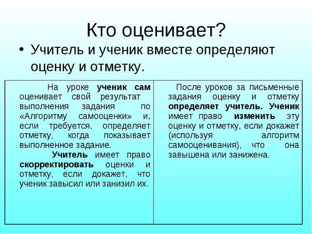 Кто оценивает? Учитель и ученик вместе определяют оценку и отметку. На уроке...