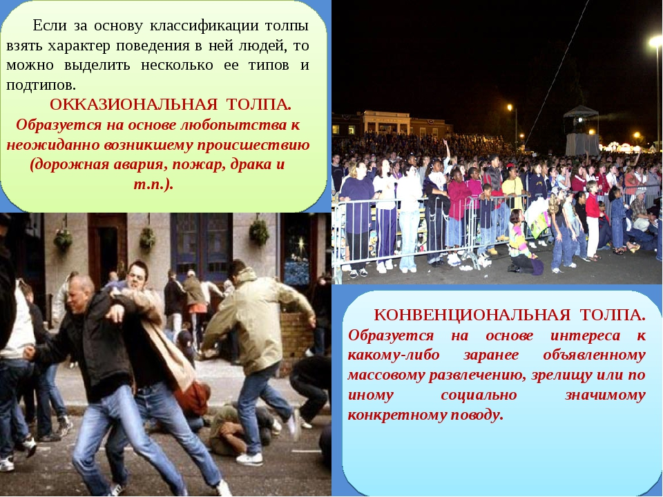 Если за основу классификации толпы взять характер поведения в ней людей, то м...