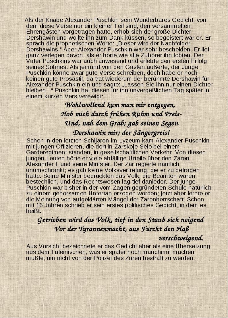Als der Knabe Alexander Puschkin sein Wunderbares Gedicht, von dem diese Ver...