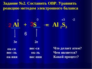 Al + S → Al 2S3 0 0 +3 -2 6 2 3 Задание №2. Составить ОВР. Уравнять реакцию м