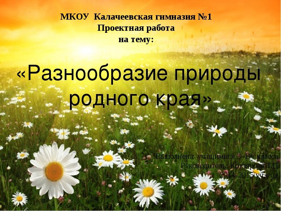 МКОУ Калачеевская гимназия №1 Проектная работа на тему: «Разнообразие природы...