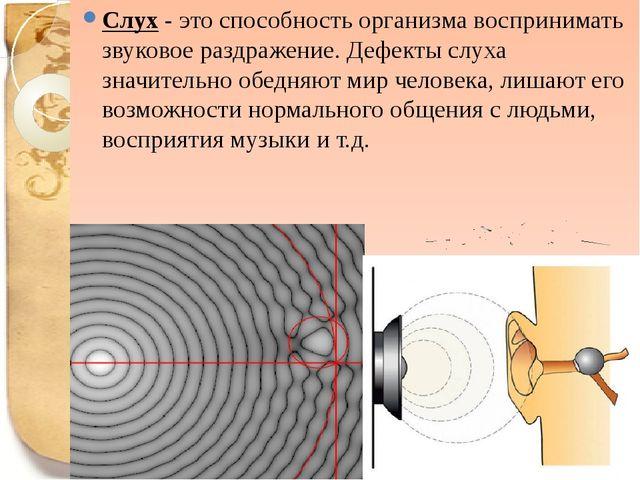 Слух - это способность организма воспринимать звуковое раздражение. Дефекты с...
