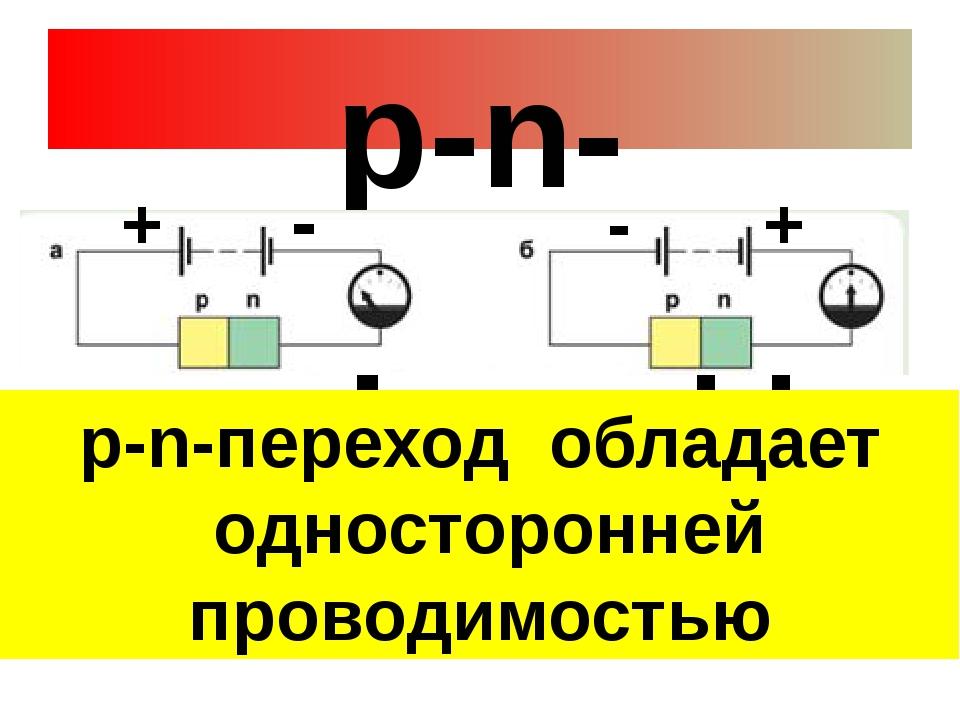 р-n-переход Переход закрыт Переход открыт + + - - р-n-переход обладает одност...