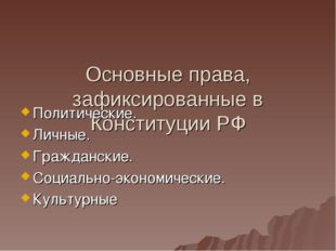 Основные права, зафиксированные в Конституции РФ Политические. Личные. Гражд