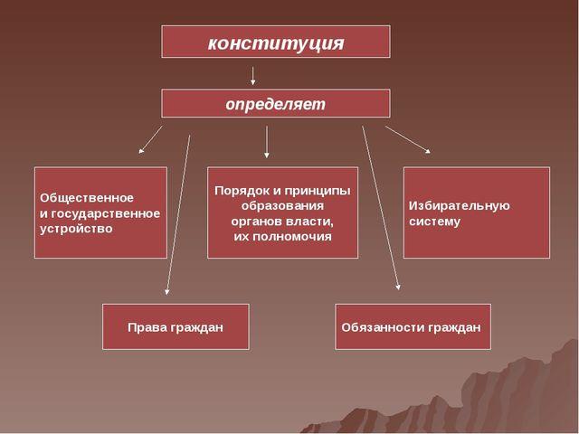 конституция определяет Общественное и государственное устройство Порядок и пр...