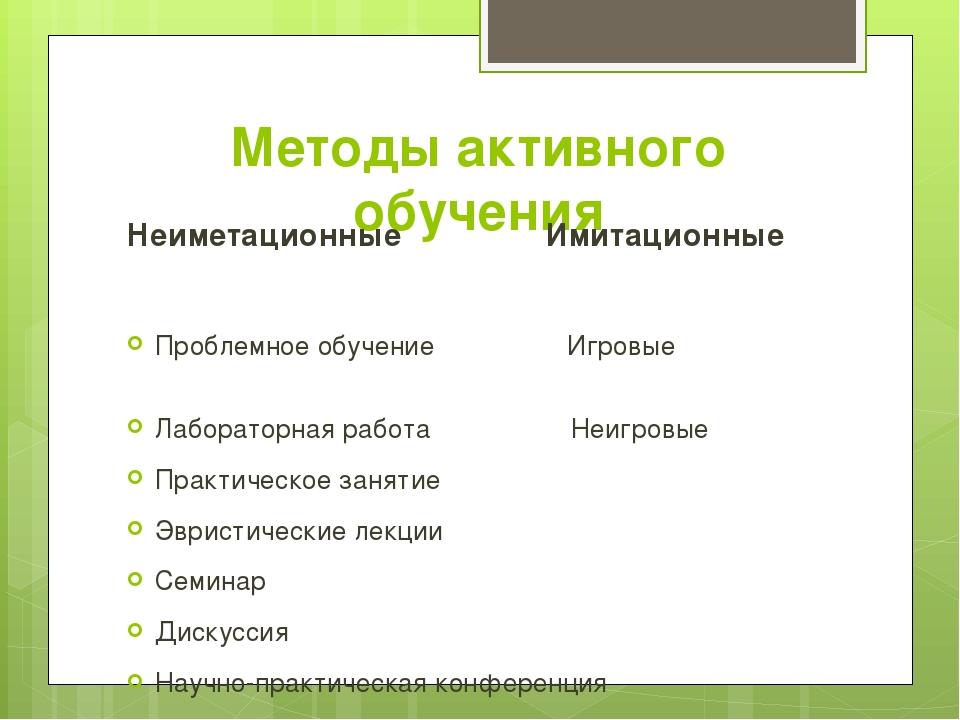 Методы активного обучения Неиметационные Имитационные Проблемное обучение Игр...